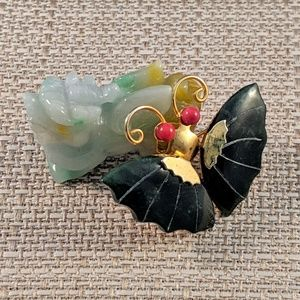 Vintage Jade and Coral Butterfly Pendant Brooch